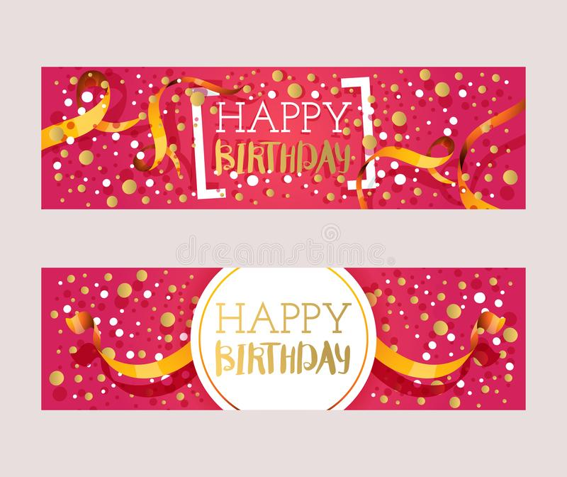 Happy birthday banner, vector illustration. Greeting card, gift tag, invitation to birthday party celebration or website royalty free illustration