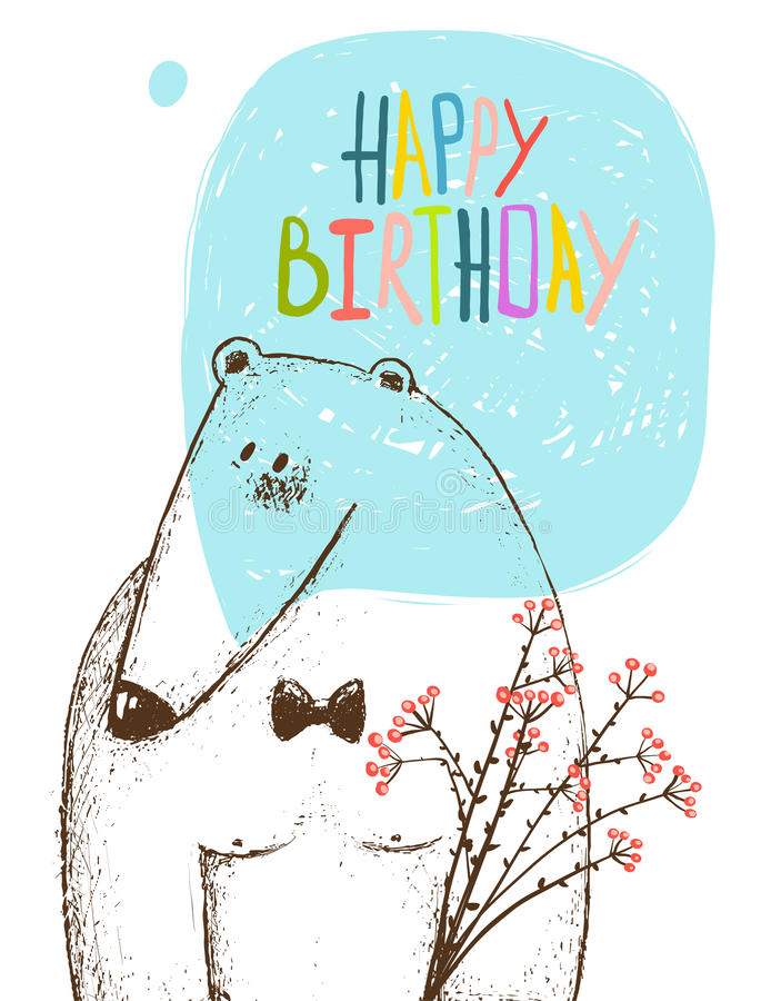 Download Happy Birthday Bear Greeting Card With Flowers Stock Vector
