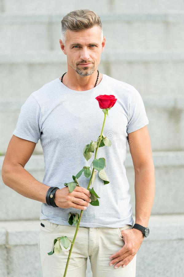 Happy birthday. Bearded man holding fresh natural birthday gift. Handsome man with red rose for birthday celebrating. The perfect way to show your birthday royalty free stock photo