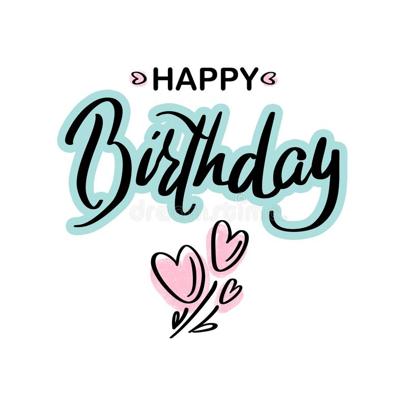 Happy Birthday.Beautiful greeting card calligraphy black green text lettering with pink hearts on white background isolated. royalty free illustration