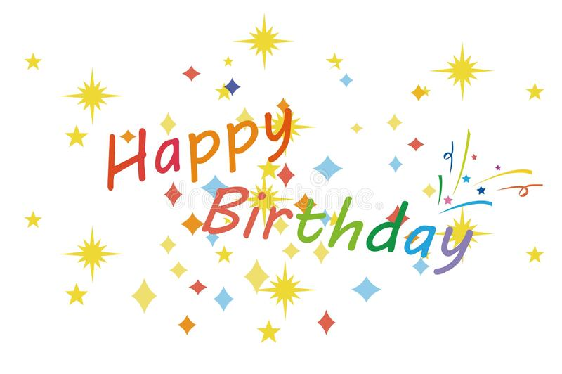 Happy birthday . Beautiful greeting card poster with calligraphy colors text word on white . stock photo