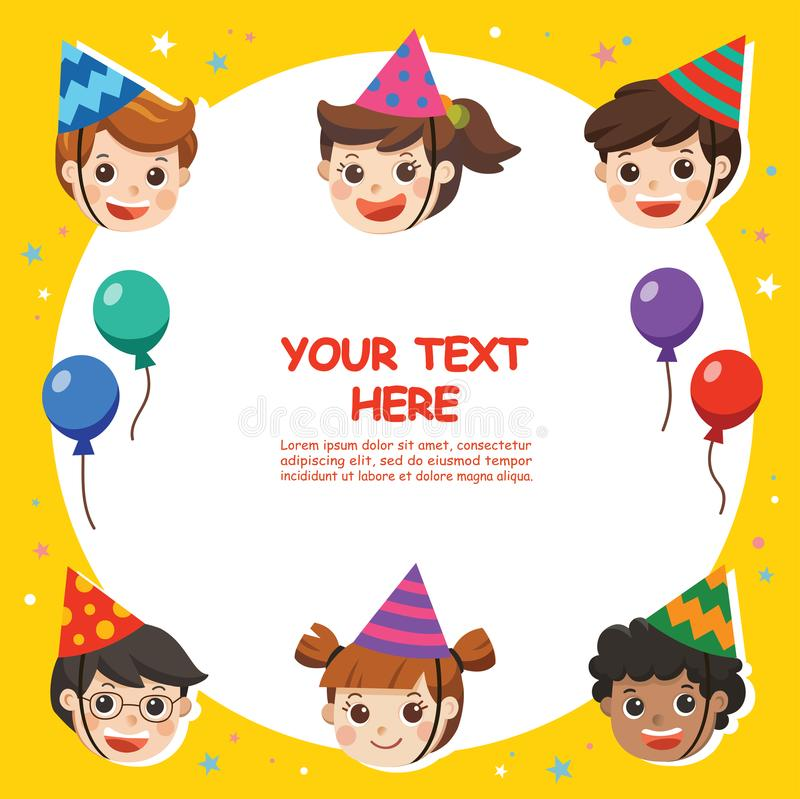 Happy Birthday. Beautiful Kids greeting funny Character & Birthday Party Invitation Card Template. Illustration card royalty free illustration