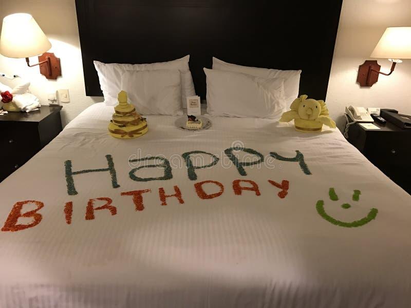 Happy Birthday. A happy birthday bed stock photography