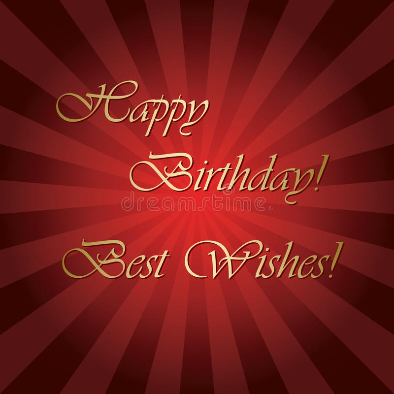 Happy birthday and best wishes - bright red vector greeting card. With rays royalty free illustration