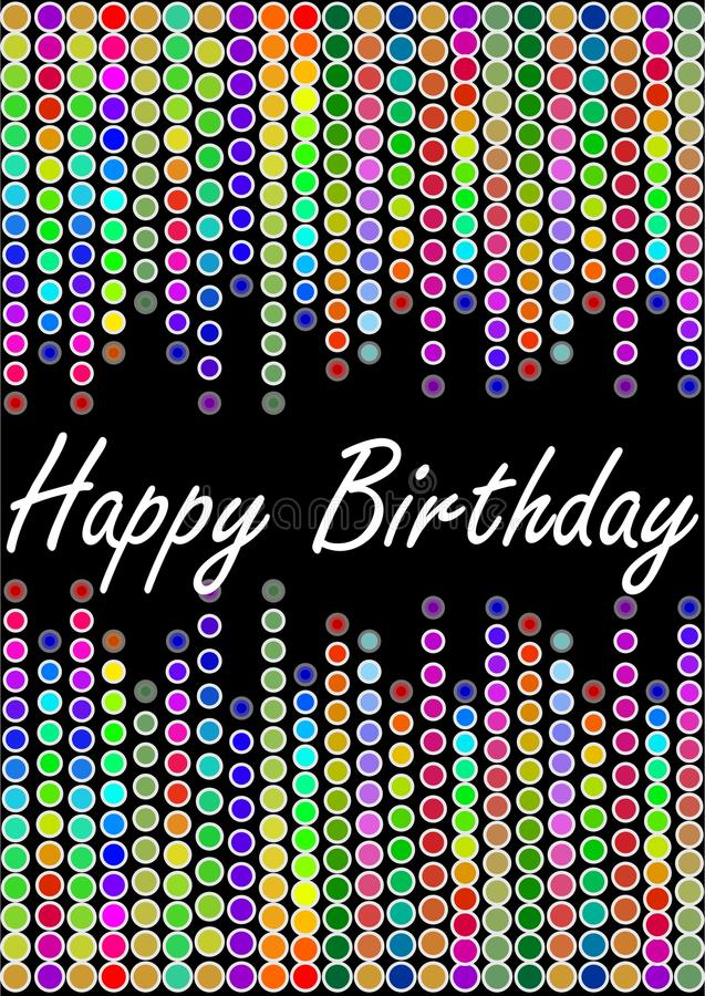 Happy birthday billboard with colorful lights royalty free illustration