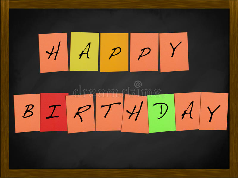 Happy Birthday on a blackboard stock photo