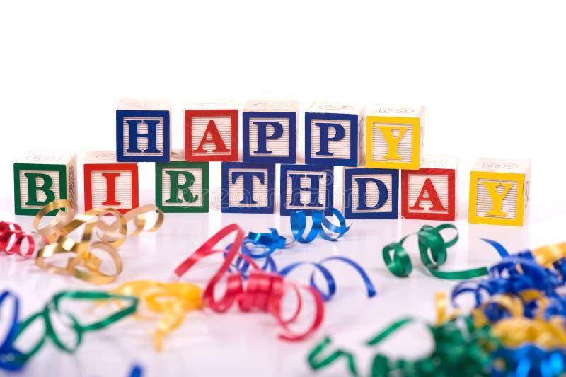 Happy Birthday Blocks stock photography