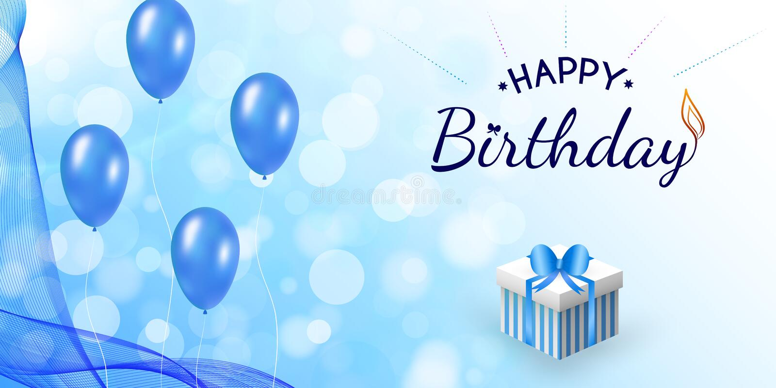 Happy birthday blue design with balloon, wavy veil royalty free illustration
