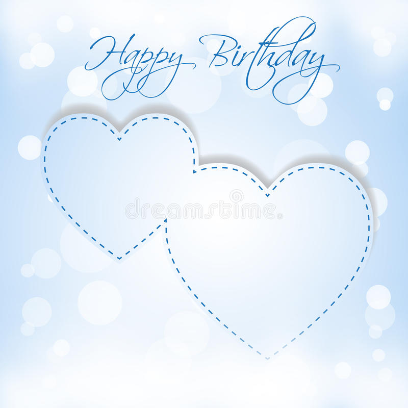Happy Birthday Blue Hearts Stock Photos