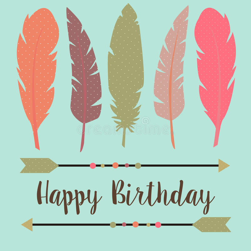Happy Birthday In Boho Style Stock Vector