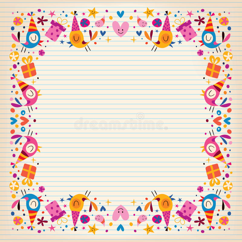 Happy Birthday Border Lined Paper Card With Space For Text Stock ...