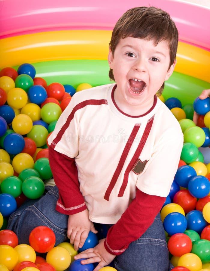 Happy birthday of boy in color balls. Happy birthday of fun boy in color balls royalty free stock images