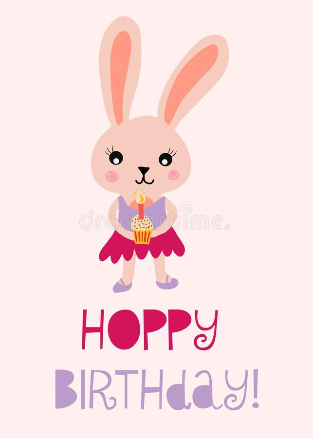Happy birthday bunny cute vector illustration for kids birthday card. Hoppy birthday with rabbit holding a cupcake with vector illustration