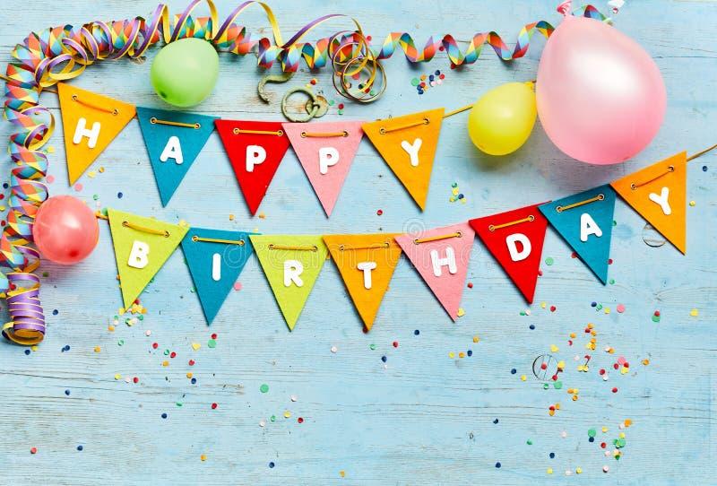 Happy Birthday bunting background stock photos