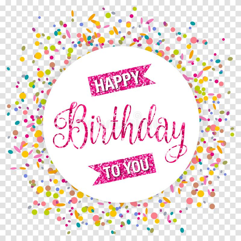 Happy birthday button with colorful confetti card invitation isolated vector vector illustration