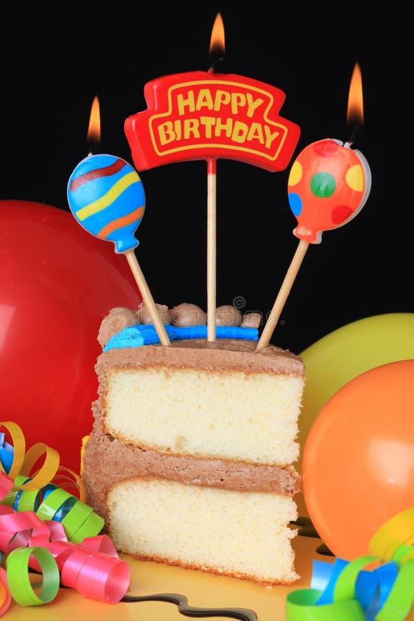 Happy birthday cake. With burning candles stock photos