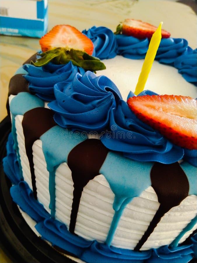 Happy birthday cake. Cake happy  birthday blue dessert sweets strawberry yummy stock photo