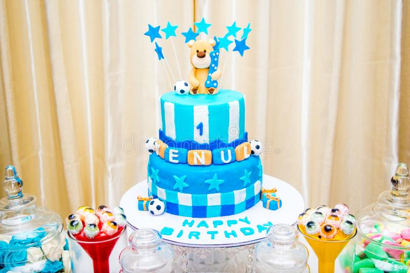 Marvelous Happy Birthday Cake With Blue Theme Stock Image Image Of Funny Birthday Cards Online Alyptdamsfinfo