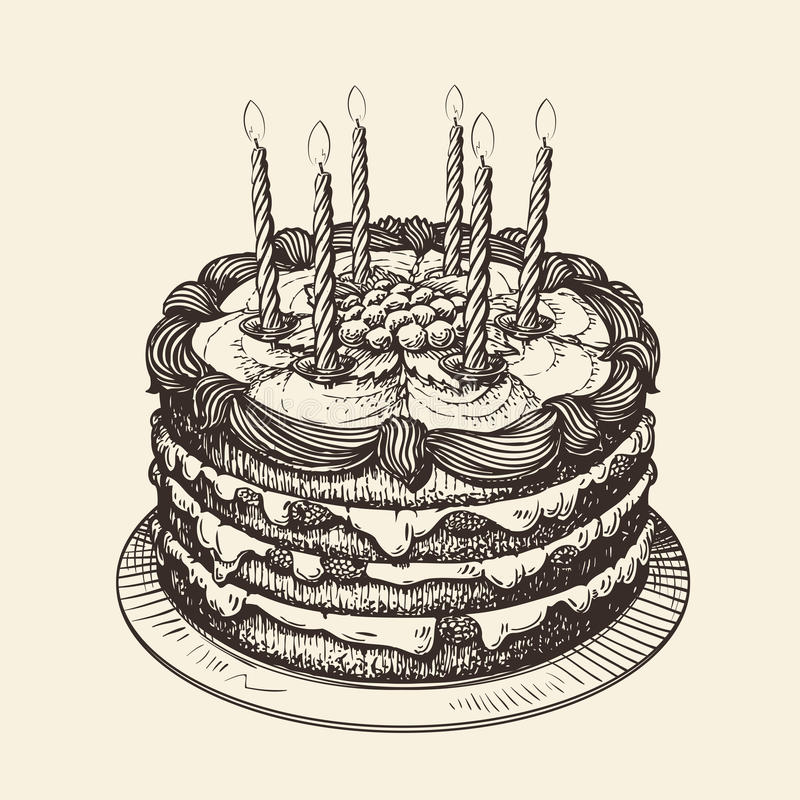 Happy Birthday Cake With Burning Candles Sketch Illustration Stock
