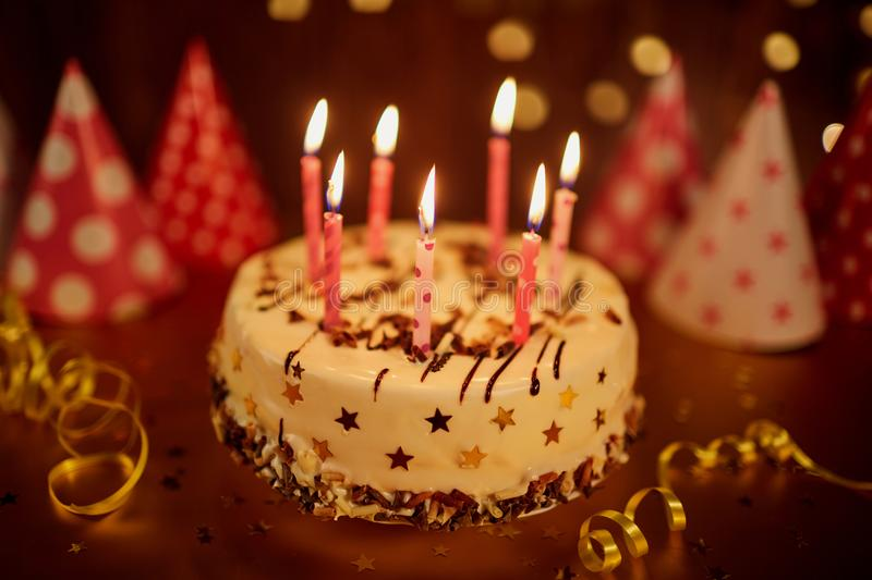 Happy Birthday Cake With Candles Stock Photo Image Of Dessert