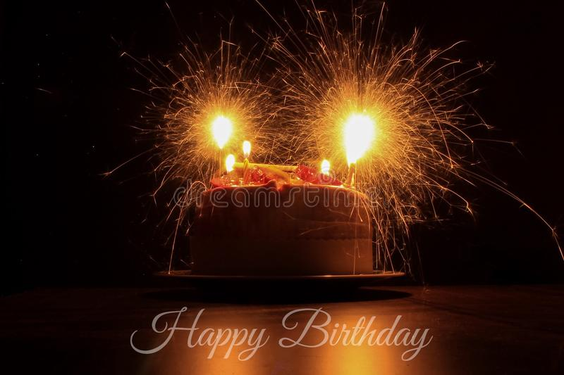 Happy Birthday. Birthday cake and candles royalty free stock images