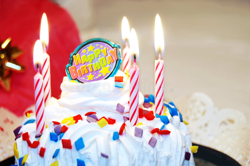 Happy Birthday Cake with Candles royalty free stock image
