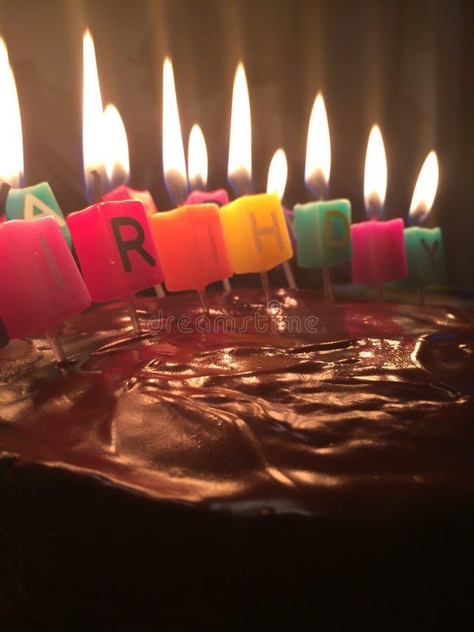 Happy Birthday Cake. With Candles Alight stock photos