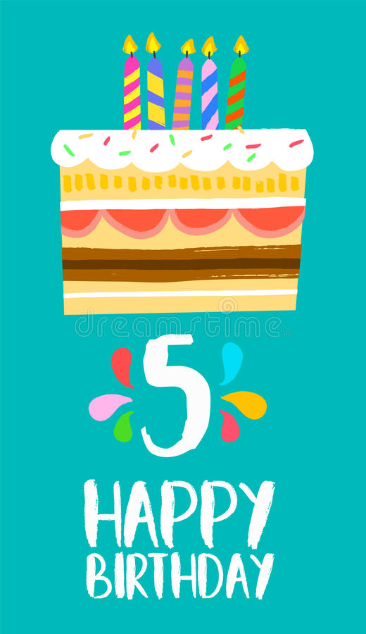 Happy Birthday cake card for 5 five year party royalty free illustration
