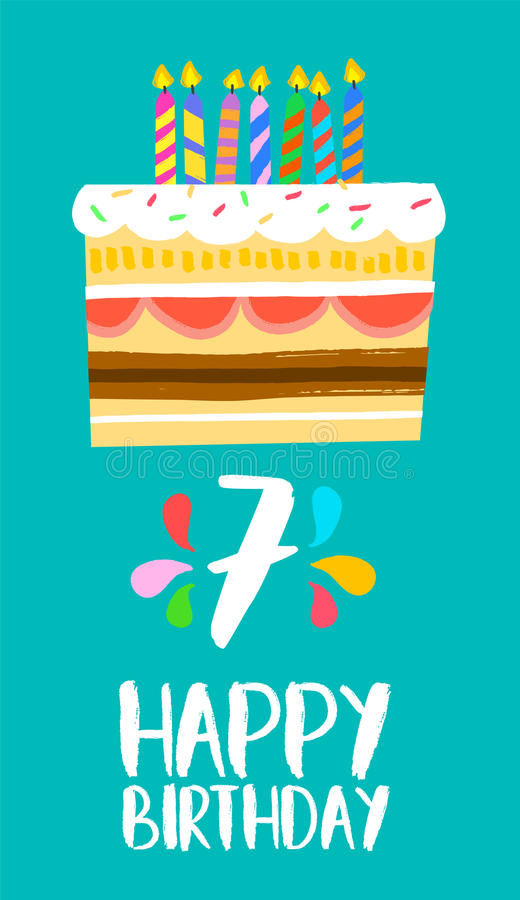 Happy Birthday cake card for 7 seven year party vector illustration