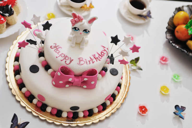 Happy Birthday cake. For Childrens party stock photos