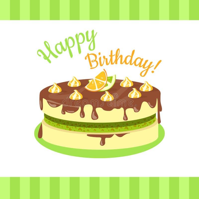 Happy Birthday Cake with Citrus Fruits Isolated. Happy birthday cake with lemons, limes, mandarins and oranges isolated. Cake with citrus fruit and chocolate stock illustration