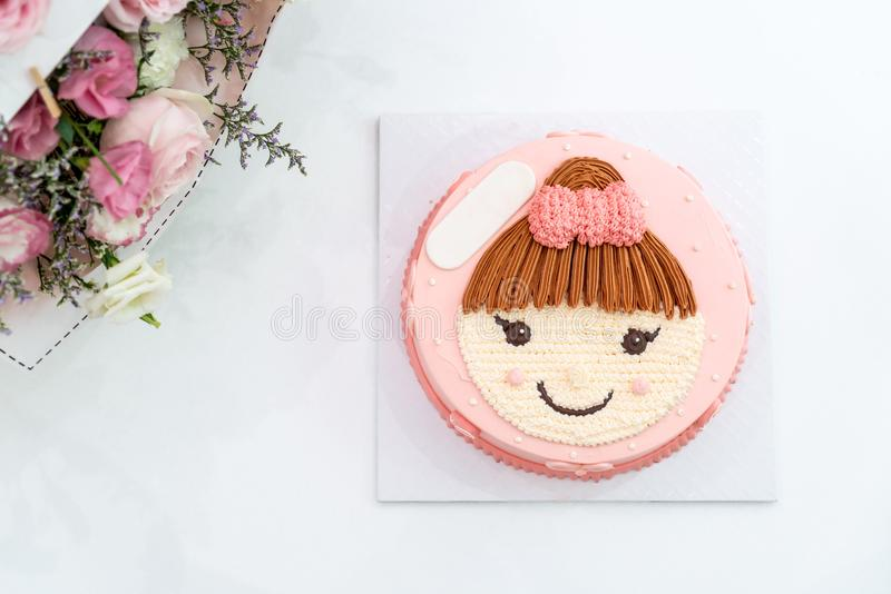 happy birthday cake with girl on top cake stock photography