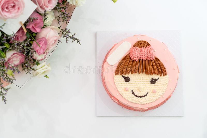 happy birthday cake with girl on top cake royalty free stock photos