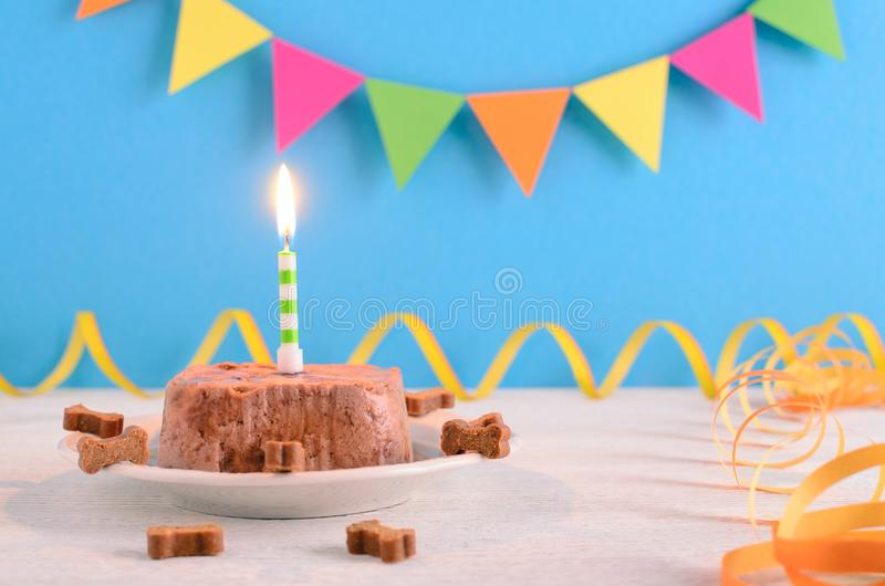 Happy birthday cake for dog from wet food and treats with candle on blue party background. Selecttive focus stock photos