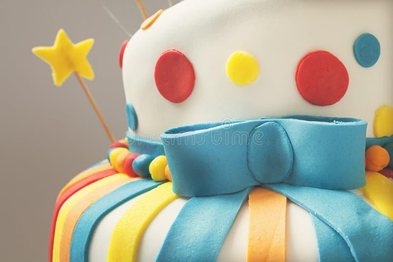 Happy Birthday Cake. Funny birthday cake details, sweet colorful decoration stock photos