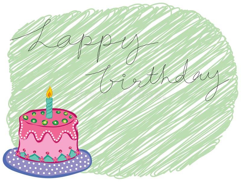 Happy birthday cake greeting. Cartoon happy birthday cake greeting royalty free illustration