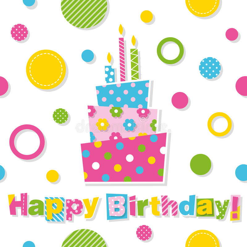 Happy Birthday Cake Greeting Card Stock Vector Illustration of
