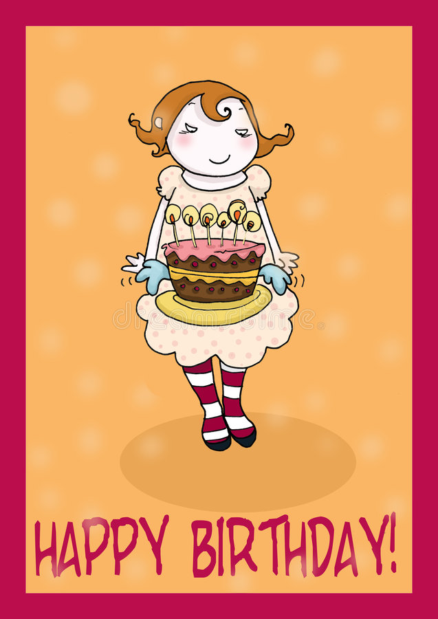 Happy birthday cake greetings card. Cute girl and flying cake greeting card, with writing. Digital colors royalty free illustration