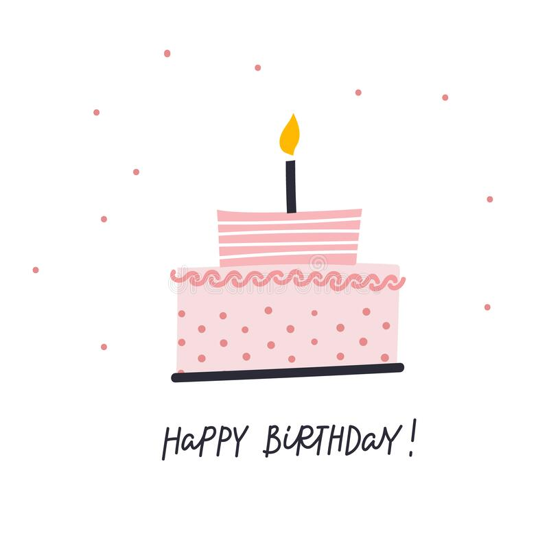 Happy Birthday Cake Illustration Lettering Card Stock Illustration Illustration Of Active Design 181161873