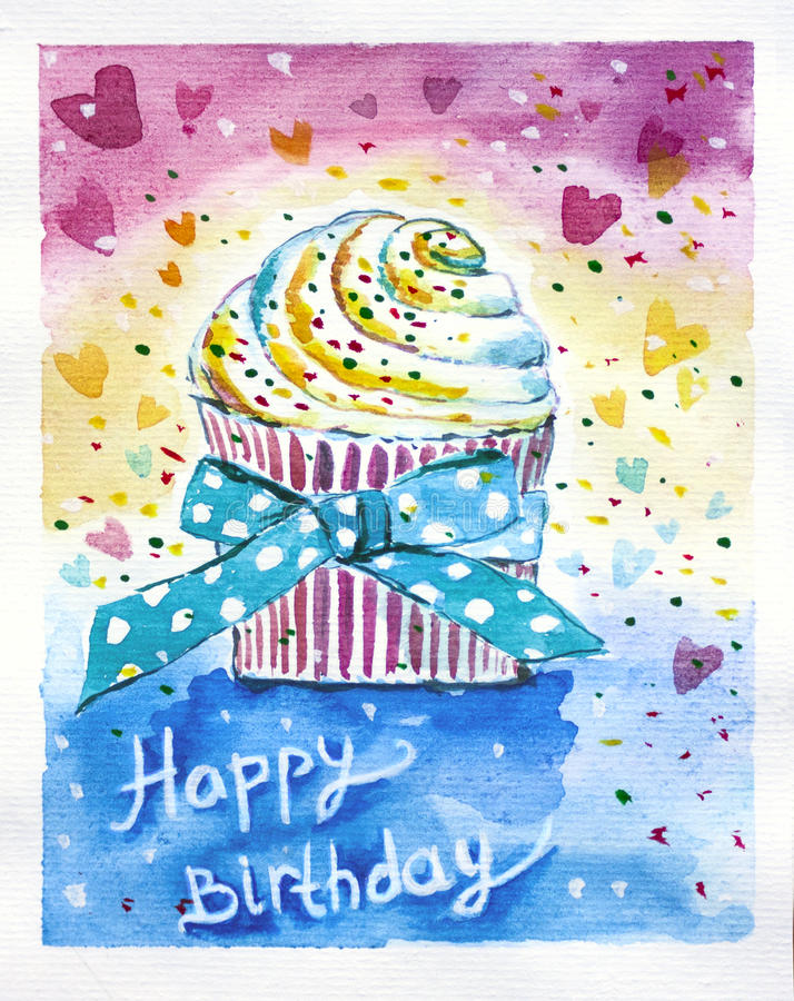 Happy birthday cake. Birthday is a joyful holiday. Party, presents, cake and decoration all you need to feel happy vector illustration