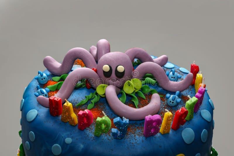 Happy Birthday. Birthday cake on marine theme royalty free stock photos