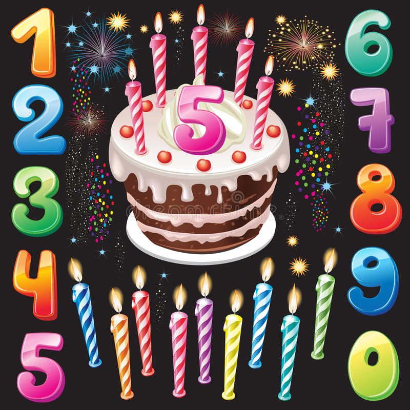 Happy Birthday cake, numbers and firework. On black royalty free illustration