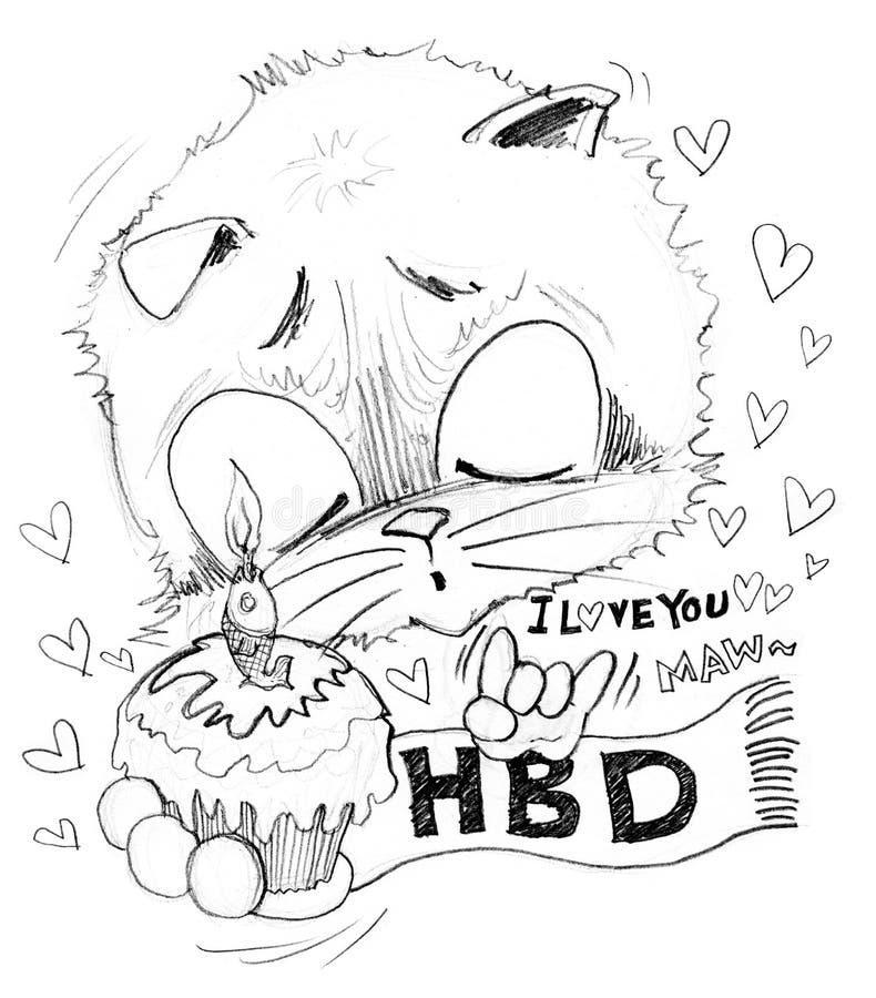 Happy Birthday and cake stock illustration Illustration of love