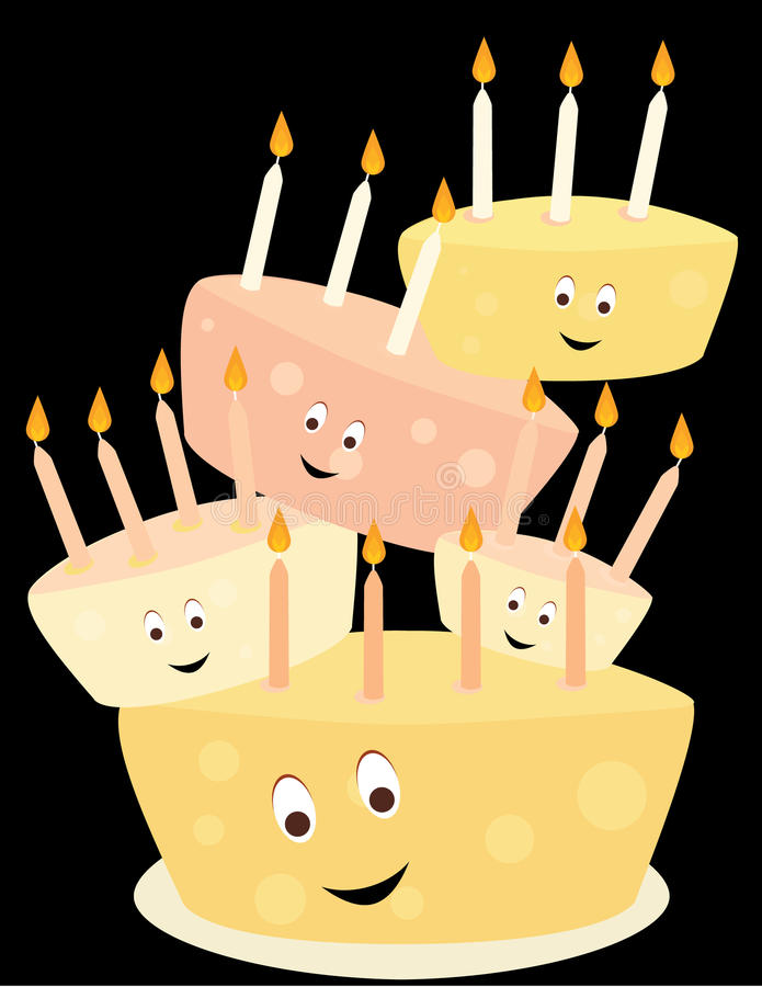Happy birthday cake stack vector illustration