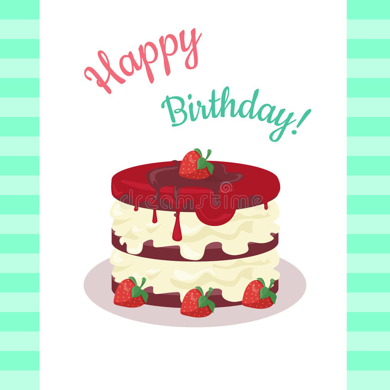 Happy Birthday Cake with Strawberries Isolated. Cake with chocolate. Birthday or wedding cake , dessert cookies, strawberry and kiss, food sweet pie with cream stock illustration
