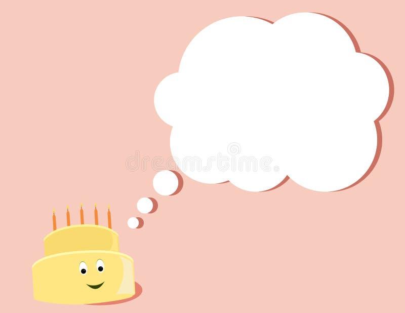 Happy birthday cake thinking vector illustration