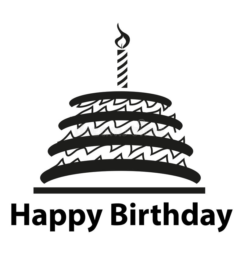 Happy Birthday Cake. Vector illustration of happy birthday with a cake and a candle on the top of the cake royalty free illustration