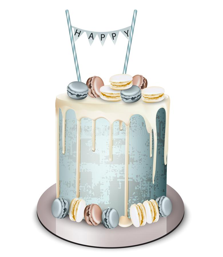 Magnificent Modern Cake Ice Cream Cone On Top Vector Realistic Birthday Funny Birthday Cards Online Alyptdamsfinfo