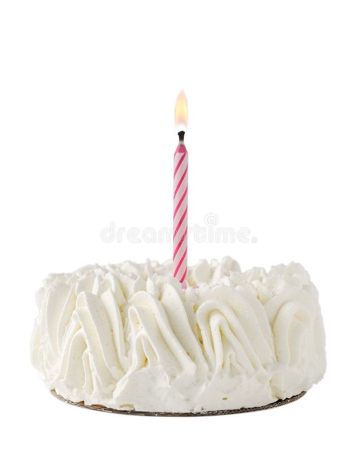 Free Happy Birthday Cake Whit One Pink Candle Royalty Free Stock Photo - 7299175