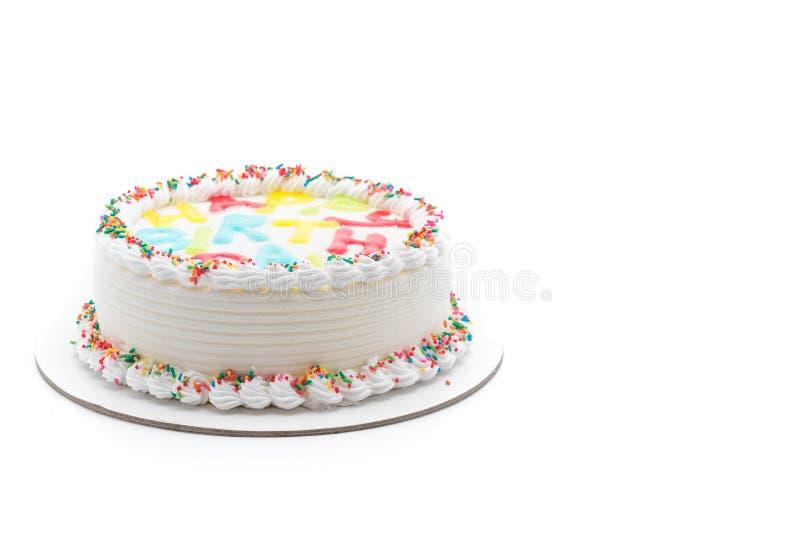 Happy birthday cake. On white background stock photos